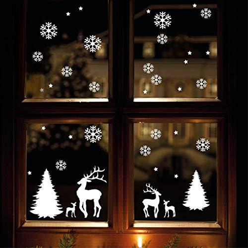 Wandtattoo-Loft Fensterbild Weihnachten Fensteraufkleber Winterwald Rentiere WIEDERVERWENDBAR 12317