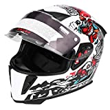 Acouto Full Face Motorcycle Safety Adult Helmet with Double Lenses White Clown Pattern