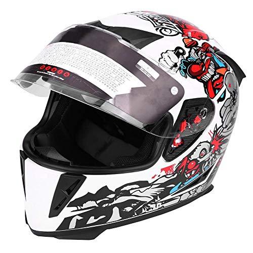 Casco de motocicleta, casco de seguridad integral para motocicleta con patrón de payaso blanco de doble lente(L)