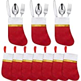 30 Pieces Christmas Dinner Table Decorations Christmas Socks Silverware Holders Tableware Bags Mini Christmas Stockings Knife Spoon Fork Storage Bag for Christmas Party Dinner Table Decoration