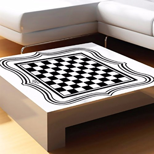 Bluelover Décoration International Chess Board Table Verre Bureau Vinyle Autocollant Accueil Bar À Thé