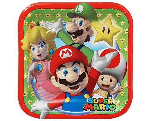 Amscan–541554Platos de Papel, Cuadrados, 18cm, diseño de Super Mario