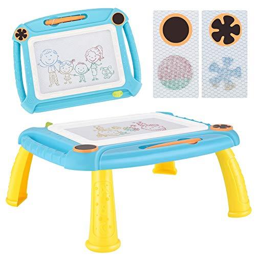 TTMOW Magnetische Maltafel Zaubertafeln mit Beine, Bunt Löschbar Magnettafel Zaubermaltafel Zeichentafel Zeichenbrett Lernspielzeug für Kinder Geschenk 3 4 5 Jahre alt (Blau)