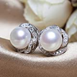 EHEDHXG Mode Perle Ohrringe Natürliche Süßwasserperle Rose Blume Sterling Silber Ohrringe Perlenschmuck Für Frauen