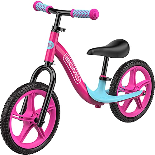 GOMO Balance Bike - Toddler Training Bike for 18 Months, 2, 3, 4 and 5 Year Old Kids - Ultra Cool Colors Push Bikes for Toddlers No Pedal Scooter Bicycle with Footrest (Pink)