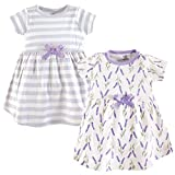 Touched by Nature Girls' Organic Cotton Short-Sleeve Dresses, Lavender, 2-Toddler