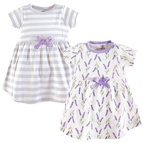 Touched by Nature Girls, Toddler, Baby and Womens Organic Cotton Short-Sleeve and Long-Sleeve Dresses, Lavender Short Sleeve, 3 Toddler