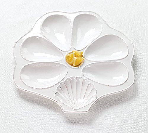 Flat White Slotted Oyster Platter Shell Shaped for Oysters, Sauce, and Lemons