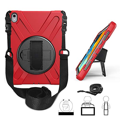 Yami iPad 9.7 2017 2018 Case 360 Degree Rotatable with Kickstand Hand Strap and Shoulder Strap case, 3 Layer Hybrid Heavy Duty Shockproof case for iPad 9.7 5th/6th Generation (Red)
