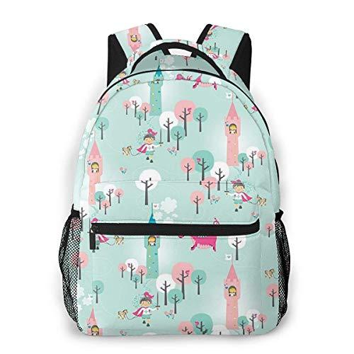 Laptop Bags,Adult Travel Rucksack,Lightweight College Book Bags,Men Women Daypack,Boys Girls Casual Backpack,Dragon Girl Blue