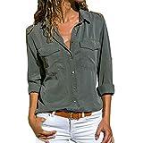 KEERADS Chemisier Femme Blouse Couleur Unie Col V Col Rabattu Poche Bouton Casual Mode Tunique Haut Top Shirt Manche Longue Chemise(S,Vert d'armée)