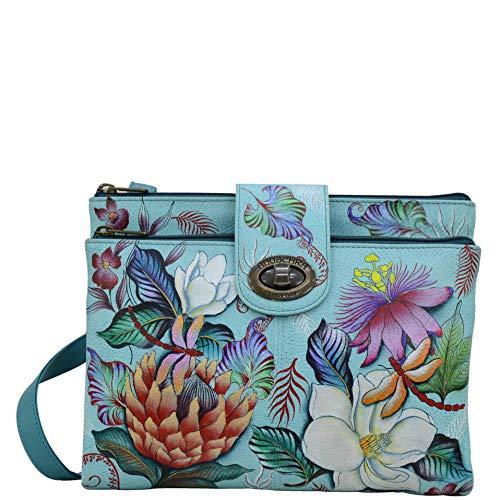 Anuschka Damen Handgemalte Leder, Doppel Zip Zweikammer Wallet/Kupplung, einheitsgröße jardin bleu