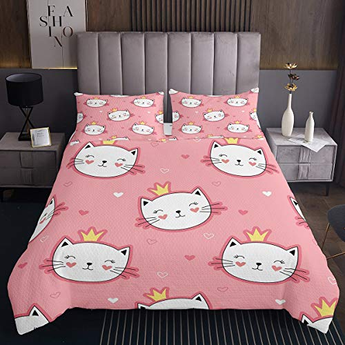 Erosebridal Girls Cat Princess Quilt, Smiling Cat Coverlet Set for Kids Teens, Cartoon Crown Bedspread, Kitten Pet Animal Daybed Red Yellow Child Dorm Decor with 2 Pillow Cases Queen Size
