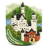 Castillo de Neuschwanstein Alemania Imán de resina pintado a mano 3D Recuerdo Puerta de...