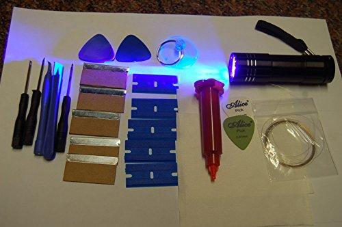 5ML LOCA (KMV) KLEBER, 9 LED UV FACKEL, und ÖFFNUNGSWERKZEUGE für IPHONE, SAMSUNG, NOKIA, HTC, LG, IPAD ...