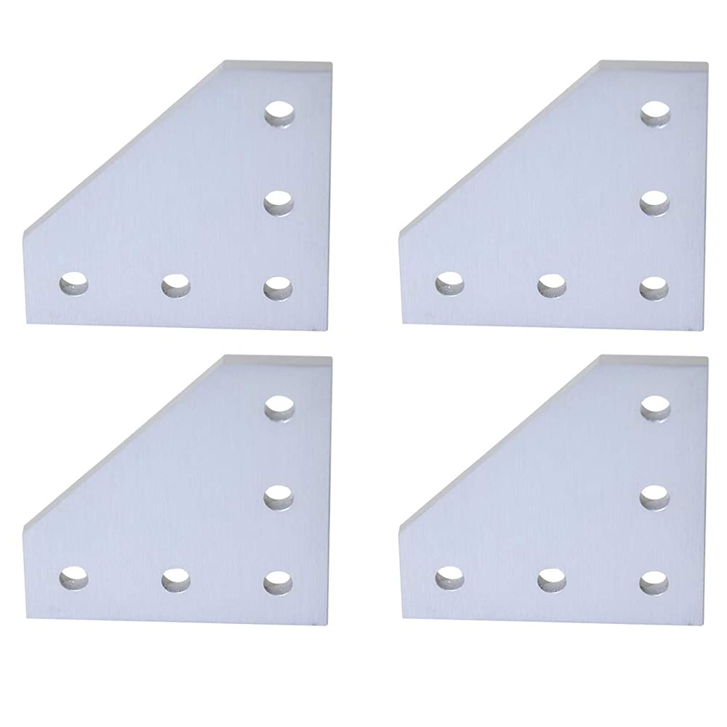 Boeray 4pcs 5-Hole 90 Degree L Shape Outside Joining Plate for 2020 Series Aluminum Profile, Joint Bracket Plate