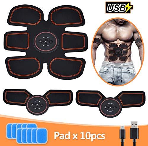 TouchSKY Electroestimulador Muscular, Estimulador Muscular Abdominales, Masajeador Eléctrico Cinturón con USB, EMS Ejercitador del Abdomen/Brazo/Piernas/Cintura (Hombre/Mujer)