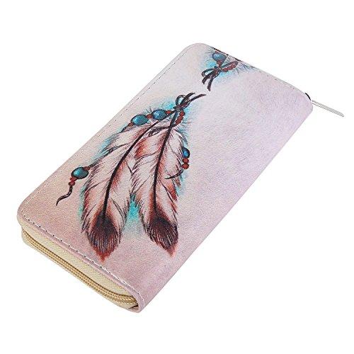DonDon Damen Geldbeutel Muster Federn und Perlen beige rosa