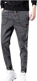 Men's Casual Solid Straight Denim Slim Jeans Drawstring Regular Pant