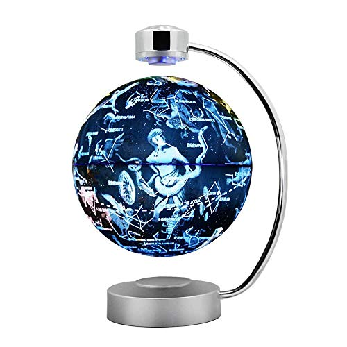 """GLOBE AS 8"""" Magnetic Floating Globe and Constellation LED Lights - Anti-Gravity Floating Rotating Earth Map - Education Gifts Home Desk Display Decoration, Creative Birthday/Christmas/Anniversary"""