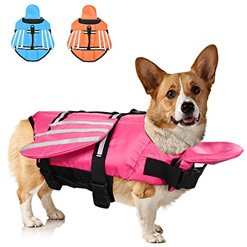 Fragralley French Bulldog Dog Life Jacket, Pet Life Vest for Small, Middle, Large Size Dogs, Unique Wings Design Doggy Lifesaver Preserver Swimsuit with Handle for Swim, Pool, Beach, Boating