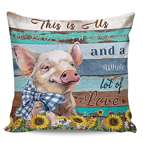 Winter Rangers Fundas de almohada decorativas, lindas fundas de almohada rústicas de animales de granja en madera, ultra suave, funda de cojín cuadrada cómoda para sofá dormitorio, 50,8 x 50,8 cm