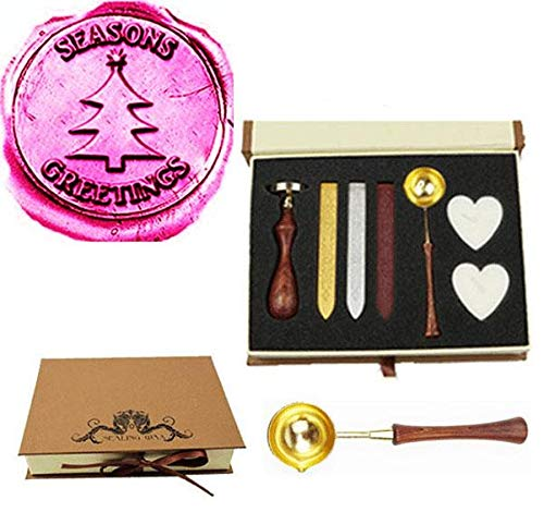 MNYR Seansons Groeten Kerstboom Ster Wax Seal Stempel Smelten Lepel Wax Stick Kaars Gift Book Box kit Bruiloft Uitnodiging Versiering Holiday Card Kerstmis Gift Wrap Pakket Seal Stamp Set