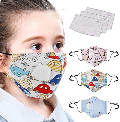 Amazon.com: LiteBee Cotton Mask with Breath Valves for Kids, 3pcs Washable Reusable Cloth Mask Cute Cotton Face Mask, 3pcs Activated Carbon Pm 2.5 Tablets for Outdoor Activities: Sports & Outdoors