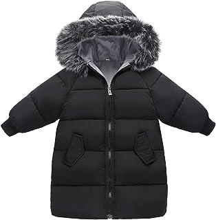 159473ad48843 KELUOSI Enfant Fille Manteau Hiver Garçons Mi Longue Vêtement Doudoune Chaud  Capuche Fourrure Zip Poches Parka