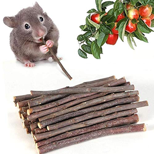 Ali York 150g Natural Apple Sticks Hamster Chew Toys Small Pet Animal Molar Wood Treats Toys for Chinchillas Rabbits Guinea Pig Gerbill Parrot, 5.7inches(15cm)