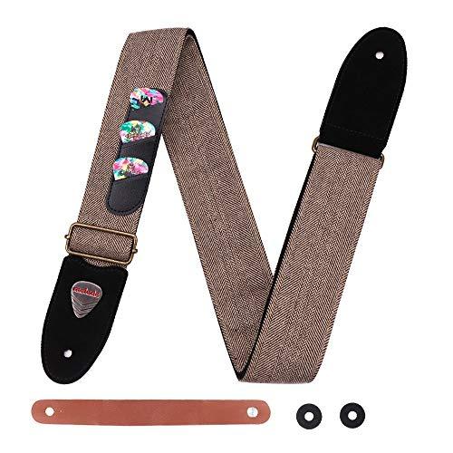Gitarrengurt weiches Baumwoll Echtleder Endstückgurt mit Tasche für das Plektrum, 3 Plektren inklusive für Akustikgitarre, E-Gitarre, Bass, Banjos (braun)