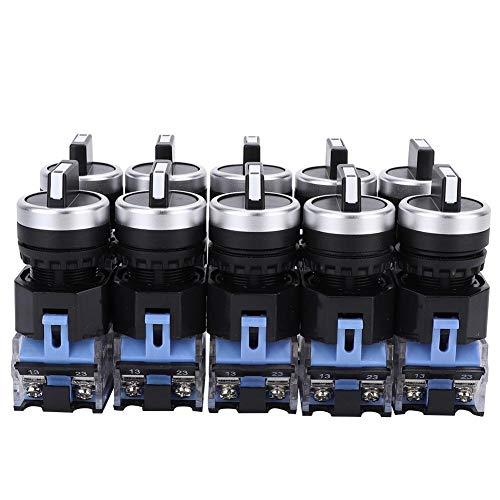 10 Piezas 22 mm Interruptor de Botón,BEM38-20X / 31 Autoblocante Interruptor de Llave Mantenida Interruptor Pulsador Interruptor Selector 3 Posiciones Selector Rotativo de Alta Rendimiento