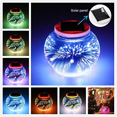 Eamplest Solar Mosaik Tischlampen Farbwechsel Solarbetriebene Solar Gartenleuchten, Solarlaterne für außen,Wasserdichte Ball Nachtlichter Solarleuchte für Dekoration Beleuchtung(3D Feuerwerk)