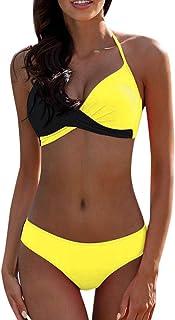 N-B Bikinis Mujer Sexy Push up Brasileños Bañadores Natacion Halter 2021 Verano Coincidencia de Color Playa Trajes de Baño...