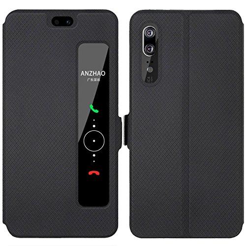 Huawei P20 Custodia, Anzhao Flip Cover [Chiusura magnetica] Con Finestra [View Window] e Supporto per Huawei P20 (Nero)
