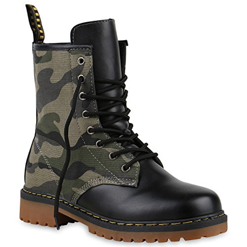 Derbe Damen Stiefeletten Worker Boots Profilsohle Camouflage Stiefel Schnür Animal Print Schuhe 126908 Camouflage 39 Flandell