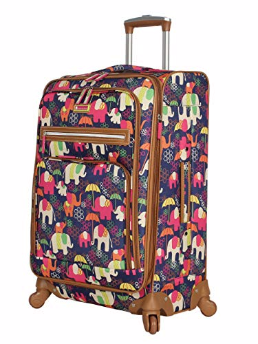Lily Bloom Luggage 24' Expandable Design Pattern Suitcase With Spinner Wheels For Woman (24in, Elephant Rain)