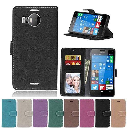 XYX Schutzhülle für Lumia 950 XL, Schwarz, Scrub Serie, PU-Leder, Klappetui, mit Kartenschlitzen für Microsoft Lumia 950 XL