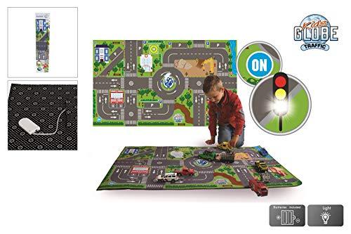Kids Globe Spielteppich mit Straßen (leuchtende LED-Ampeln, Kinder-Teppich mit Anti-Rutsch-Boden, Größe 120x72 cm) 570271