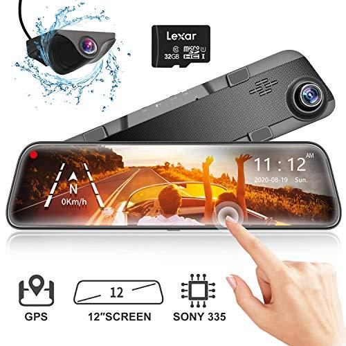 WOLFBOX Spiegel Dashcam Frontkamera und Rückfahrkamera, 1296P Auto Kamera mit 12