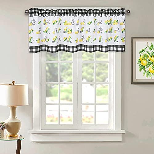 Lemon Valance Curtains for Kitchen, Buffalo Plaid Check Window Curtain Valances, Yellow Lemon Rod Pocket Curtains Valance for Cafe Small Window Bathroom(58''W x 18''L)