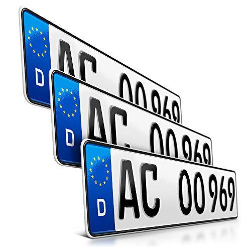 schildEVO 3 Kfz Kennzeichen | 520 x 110 mm | DIN-Zertifiziert – EU Wunschkennzeichen mit individueller Prägung | PKW Nummernschilder | Standard Autokennzeichen | Auto-Schilder | DHL-Versand