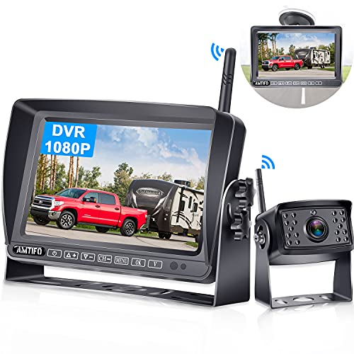 Wireless Backup Camera for RV AMTIFO HD 1080P Rear View Camera with 7 Inch DVR Monitor Adapter Compatible with Furrion Pre-Wired RVs,Trailers,5th Wheel Support up to 4 Cameras IR Night Vision - A5