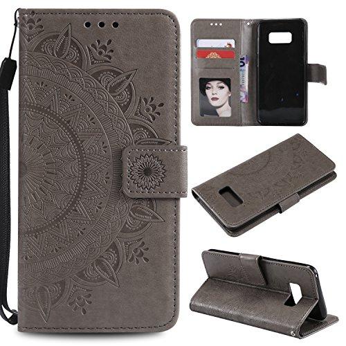 LODROC Galaxy S10 5G Hülle, TPU Lederhülle Magnetische Schutzhülle [Kartenfach] [Standfunktion], Stoßfeste Tasche Kompatibel für Samsung Galaxy S10 5G/G977B - LOHH0500691 Grau