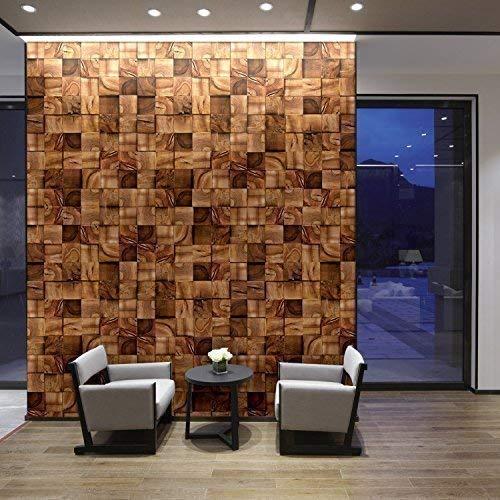 Walplus 360x180 cm Wandaufkleber Quadratisch Timber Abnehmbare Selbstklebend Wandbild Kunst Aufkleber Home Dekoration Wohnzimmer Schlafzimmer Büro Tapete Kinderzimmer Geschenk Braun