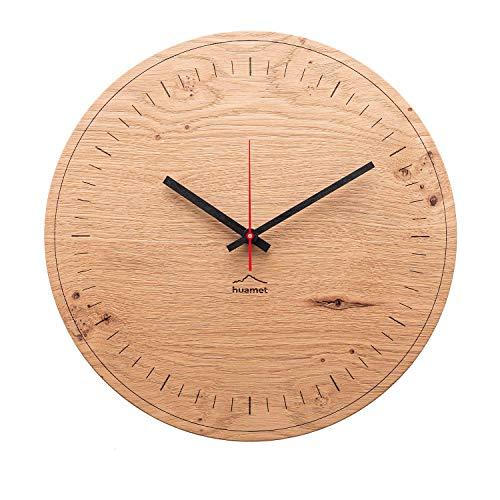 huamet. Reloj de pared de madera de roble con batería, redondo, diseño sencillo, silencioso sin tictac, producto de calidad fabricado en Tirol del Sur - CH80-A-1500