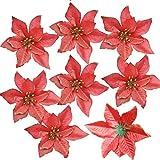12 unidades de flores de Pascua de purpurina AmaJOY, adorno para árbol de Navidad, artificial, para podas, flores de Navidad, para hacer coronas decorativas, 14 cm