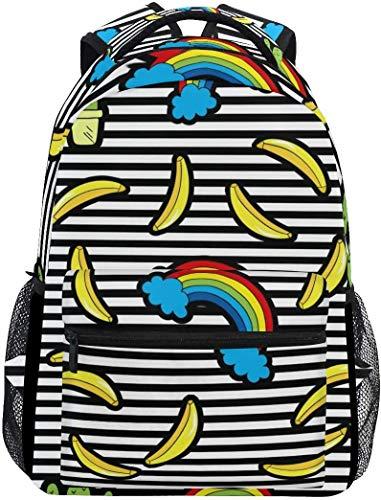 MODORSAN Mochila escolar Banana Stripes Mochila de viaje ligera Mochila universitaria para mujeres y niñas