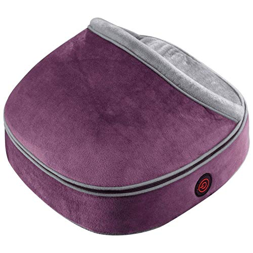 Homedics Deep Kneading Shiatsu Foot Massage Pillow with Heat, Full Body for Neck, Back, Lumbar, Shoulder, Legs and Calves, Cordless and Removable Plush Cover, Muscle Pain Relief, Purple (FMS-315HPU)