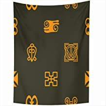 Ahawoso Tapestry 60x80 Inch Africa Unity Ghana Pattern Adinkra Your African Alphabet Graphic Love Power Language Primitive Ancient Black Tapestries Wall Hanging Home Decor Living Room Bedroom Dorm